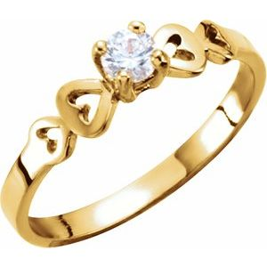 14K Yellow 3 mm Round Cubic Zirconia Youth Heart Ring - Siddiqui Jewelers