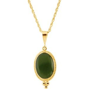 "14K Yellow 14X10 mm Oval Cabochon Nephrite Jade 18"" Necklace - Siddiqui Jewelers"