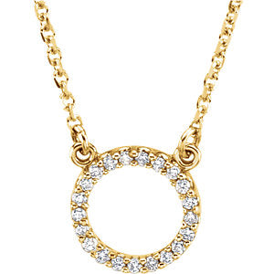 "14K Yellow 1/10 CTW Diamond Circle 16"" Necklace - Siddiqui Jewelers"