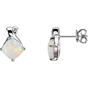 14K White Opal & .02 CTW Diamond Earrings - Siddiqui Jewelers
