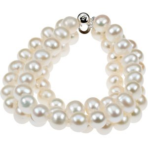 "Sterling Silver 8-9 mm Freshwater Cultured Pearl Triple Strand 7.25"" Bracelet - Siddiqui Jewelers"