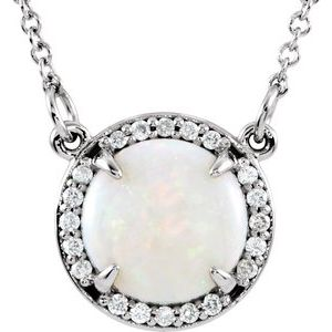 "14K White Opal & .05 CTW Diamond 16"" Necklace - Siddiqui Jewelers"