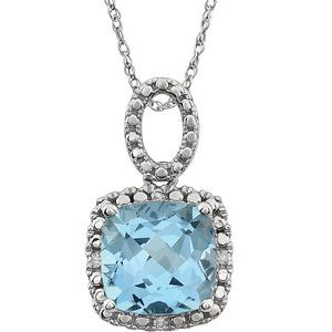 "14K White Sky Blue Topaz & .03 CTW Diamond 18"" Necklace - Siddiqui Jewelers"