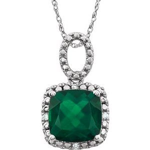 "14K White Created Emerald & .03 CTW Diamond 18"" Necklace - Siddiqui Jewelers"