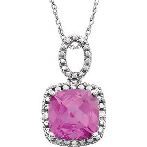 "14K White Created Pink Sapphire & .03 CTW Diamond 18"" Necklace - Siddiqui Jewelers"