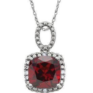 "14K White Mozambique Garnet & .03 CTW Diamond 18"" Necklace - Siddiqui Jewelers"