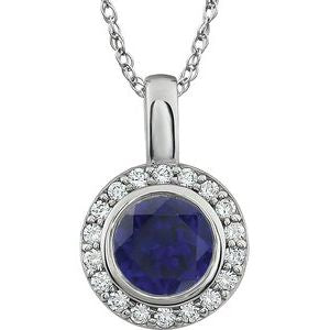"Sterling Silver 7 mm Round Dark Blue Cubic Zirconia Halo-Style 18"" Necklace - Siddiqui Jewelers"