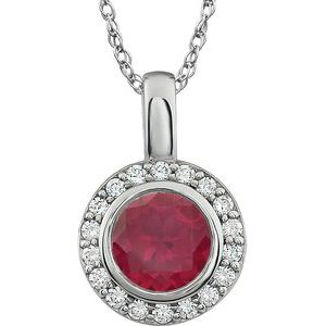 "Sterling Silver 7 mm Round Red Cubic Zirconia Halo-Style 18"" Necklace - Siddiqui Jewelers"