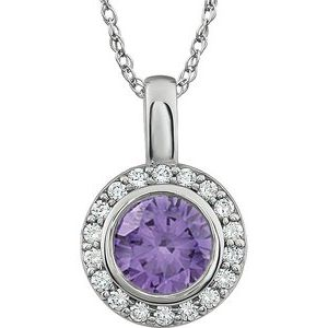 "Sterling Silver 7 mm Round Purple Cubic Zirconia Halo-Style 18"" Necklace - Siddiqui Jewelers"