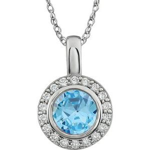 "Sterling Silver 7 mm Round Light Blue Cubic Zirconia Halo-Style 18"" Necklace - Siddiqui Jewelers"