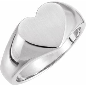 Sterling Silver 11x10 mm Heart Signet Ring - Siddiqui Jewelers