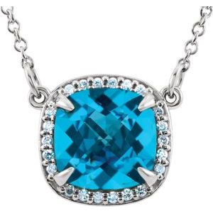 "14K White Swiss Blue Topaz & .06 CTW Diamond 16"" Necklace - Siddiqui Jewelers"