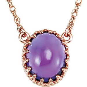 "14K Rose 10x8 mm Oval Amethyst 18"" Necklace - Siddiqui Jewelers"