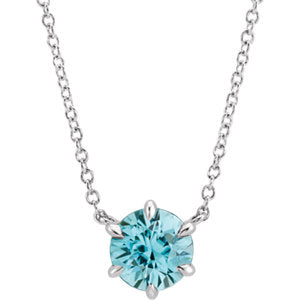 "14K White Blue Zircon Solitaire 16"" Necklace - Siddiqui Jewelers"
