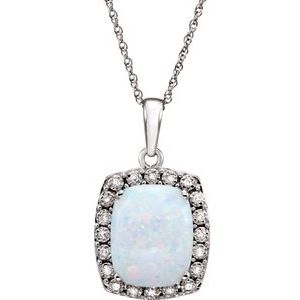 "14K White Created Opal & .05 CTW Diamond 18"" Necklace - Siddiqui Jewelers"