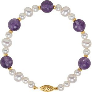 "14K Yellow Freshwater Cultured Pearl & Amethyst 7.5"" Bracelet - Siddiqui Jewelers"