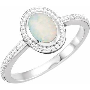 14K White Opal Beaded Cabochon Ring - Siddiqui Jewelers