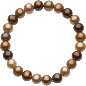 "8-9 mm Freshwater Cultured Dyed Chocolate Pearl 7"" Stretch Bracelet - Siddiqui Jewelers"