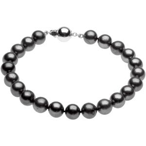 "Sterling Silver Freshwater Cultured Black Pearl 7.75"" Bracelet - Siddiqui Jewelers"