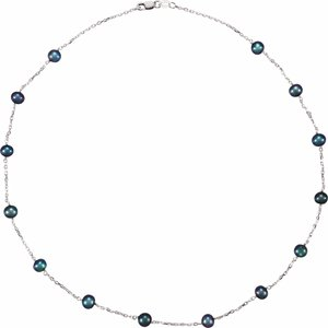 "Sterling Silver Freshwater Black Cultured Pearl Station 18"" Necklace - Siddiqui Jewelers"