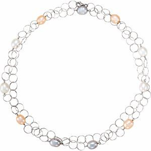 "Sterling Silver Freshwater Multi-Colored Pearl 40"" Necklace - Siddiqui Jewelers"