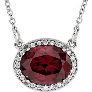 "14K White Rhodolite Garnet & .05 CTW Diamond 16.5"" Necklace - Siddiqui Jewelers"