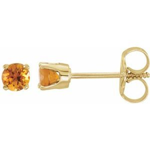 14K Yellow 3 mm Round Citrine Youth Birthstone Earrings - Siddiqui Jewelers