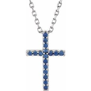 "14K White Blue Sapphire Petite Cross 16"" Necklace - Siddiqui Jewelers"