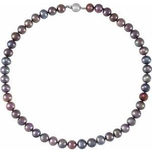 "Sterling Silver Black Freshwater Cultured Pearl 18"" Necklace - Siddiqui Jewelers"