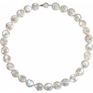 "Sterling Silver White Freshwater Cultured Coin Pearl 18"" Necklace - Siddiqui Jewelers"