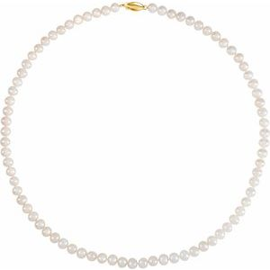 "5.5-6.0 mm White Freshwater Cultured Pearl 18"" Strand with 14K Yellow Clasp - Siddiqui Jewelers"