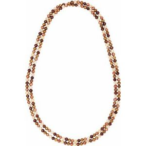 "Freshwater Cultured Dyed Chocolate Pearl Rope 72"" Necklace - Siddiqui Jewelers"