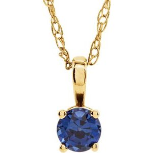 "14K Yellow 3 mm Round September Chatham® Lab-Created Blue Sapphire Youth Birthstone 14""  Necklace - Siddiqui Jewelers"