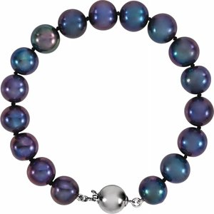 "Sterling Silver Black Freshwater Cultured Pearl 7.75"" Bracelet - Siddiqui Jewelers"