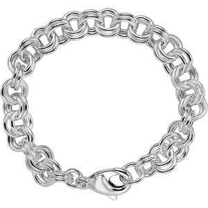 "Sterling Silver 9 mm Double Link Charm 7 1/2"" Bracelet"