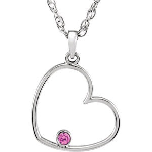 "Sterling Silver 1.5 mm Round Pink Cubic Zirconia Heart 18"" Necklace - Siddiqui Jewelers"