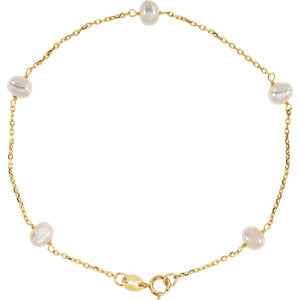 "14K Yellow Freshwater Cultured Pearl Station 7"" Bracelet"