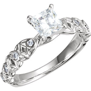 10K White & 14K White 4.5 mm Square 3/4 CTW Diamond Semi-Set Engagement Ring - Siddiqui Jewelers