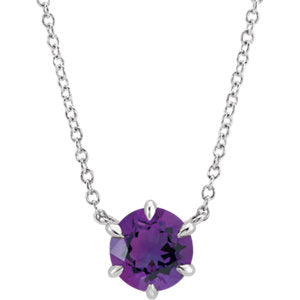 "14K White Amethyst Solitaire 16"" Necklace"