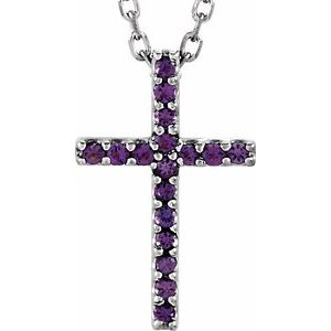 "14K White Amethyst Petite Cross 16"" Necklace - Siddiqui Jewelers"