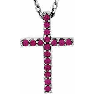 "14K White Ruby Petite Cross 16"" Necklace - Siddiqui Jewelers"