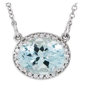 "14K White Aquamarine & .05 CTW Diamond 16.5"" Necklace - Siddiqui Jewelers"