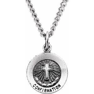 "Sterling Silver 12 mm Confirmation Medal with Cross 18"" Necklace - Siddiqui Jewelers"