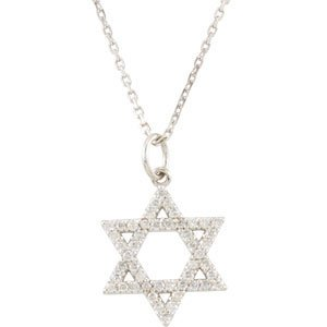 14K White 1/5 CTW Diamond Star of David Necklace - Siddiqui Jewelers