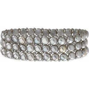 Sterling Silver Freshwater Cultured Grey Pearl 3 Row Stretch Bracelet - Siddiqui Jewelers