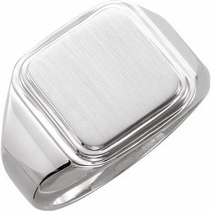 Sterling Silver Posh Mommy® Men's Square Signet Ring - Siddiqui Jewelers