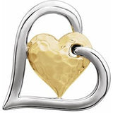 14K White & Yellow Hammered Double Heart Pendant - Siddiqui Jewelers