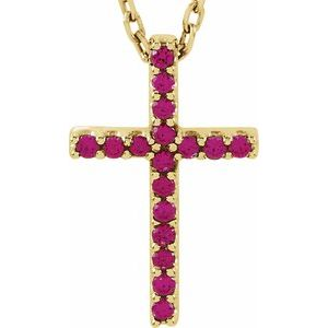 "14K Yellow Ruby Petite Cross 16"" Necklace - Siddiqui Jewelers"