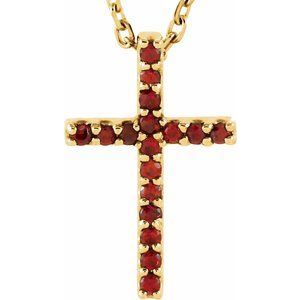 "14K Yellow Mozambique Garnet Petite Cross 16"" Necklace - Siddiqui Jewelers"