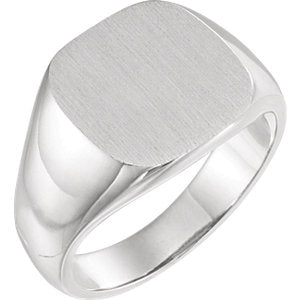 14K White 14 mm Square Signet Ring